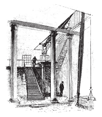 Double acting engine, zinc works, city road, london, vintage engraved illustration.