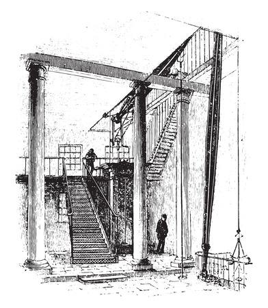 city road: Double acting engine, zinc works, city road, london, vintage engraved illustration.