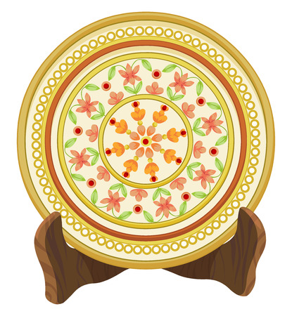 porcelain: Vector illustration of floral porcelain plate.