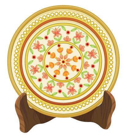 chinaware: Vector illustration of floral porcelain plate.