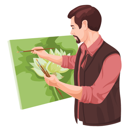 Vector illustration of artist painting on canvas. Ilustrace