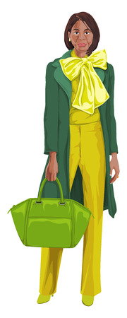 african woman: Vector illustration of african american woman with handbag.
