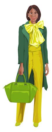 representations: Vector illustration of african american woman with handbag.