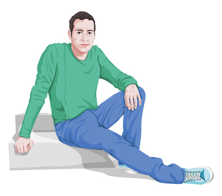 Vector illustration of stylish young man sitting on steps.