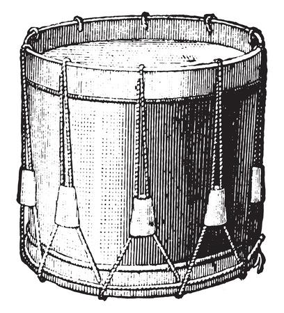 drums: Snare drum strings, vintage engraved illustration. Industrial encyclopedia E.-O. Lami - 1875. Illustration