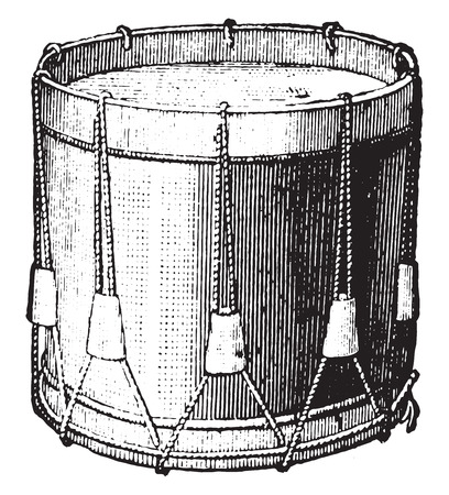 Snare drum strings, vintage engraved illustration. Industrial encyclopedia E.-O. Lami - 1875. Ilustração
