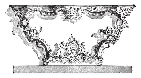 Console apply, after Cuvillies (eighteenth century), vintage engraved illustration. Industrial encyclopedia E.-O. Lami - 1875.