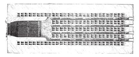 Horizontal section of the furnace refractory bricks, vintage engraved illustration. Industrial encyclopedia E.-O. Lami - 1875.