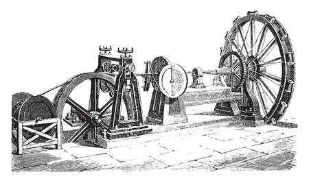 industrial machine: External cable coating machine, vintage engraved illustration. Industrial encyclopedia E.-O. Lami - 1875. Illustration