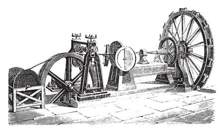 External cable coating machine, vintage engraved illustration. Industrial encyclopedia E.-O. Lami - 1875. Ilustracja