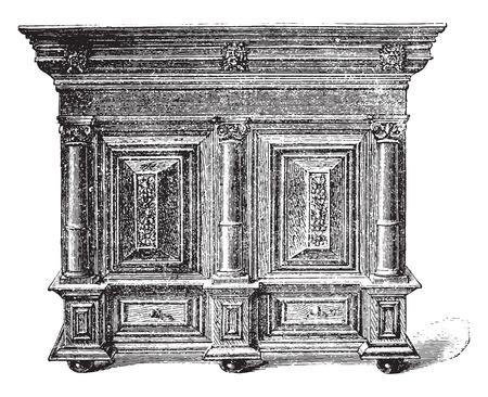seventeenth: Dutch furniture carved wooden seventeenth century (Musée de Cluny), vintage engraved illustration. Industrial encyclopedia E.-O. Lami - 1875.