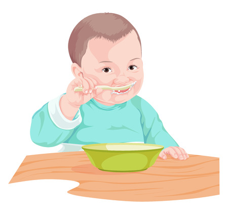 infant: Vector illustration of boy eating food with spoon.