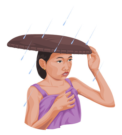 Vector illustration of woman protecting herself from rain.