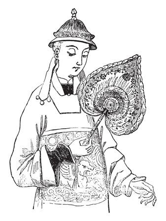 chinese fan: Chinese Fan, vintage engraved illustration. Industrial encyclopedia E.-O. Lami - 1875. Illustration