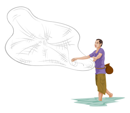 Vector illustration of man throwing fishing net. Illusztráció