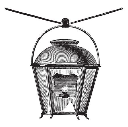 street lamp: Street lamp oil for lighting the streets, in 1769, vintage engraved illustration. Industrial encyclopedia E.-O. Lami - 1875.
