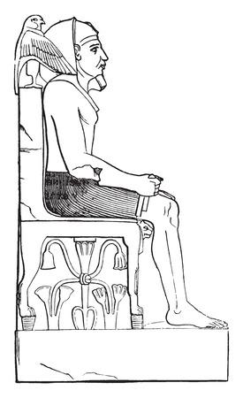chephren: Statue of King Chephren, vintage engraved illustration. Industrial encyclopedia E.-O. Lami - 1875. Illustration