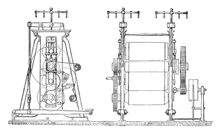 friction: Bending machines for calendering or ordinary friction liner, vintage engraved illustration. Industrial encyclopedia E.-O. Lami - 1875.