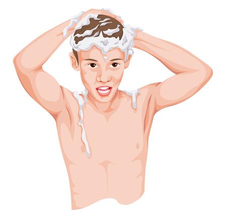 nude boy: Vektor-Illustration von Teenager-Jungen der Haarwäsche mit dem Kopf. Illustration
