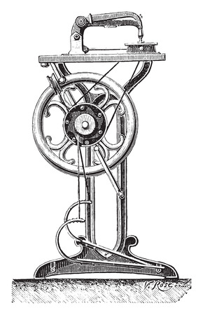 Application of latching Bourdin to a sewing machine, vintage engraved illustration. Industrial encyclopedia E.-O. Lami - 1875. Ilustração