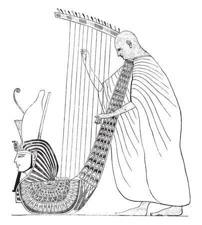 Harpist, painting caves of Beni-Hassan, vintage engraved illustration. Industrial encyclopedia E.-O. Lami - 1875. Illustration