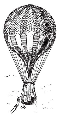 flying balloon: Balloon, vintage engraved illustration. Dictionary of words and things - Larive and Fleury - 1895.