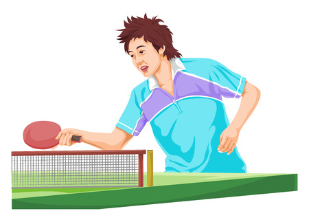 tables: Vector illustration of teenager playing table tennis.
