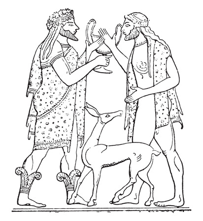 etruscan: Etruscan characters, vintage engraved illustration.