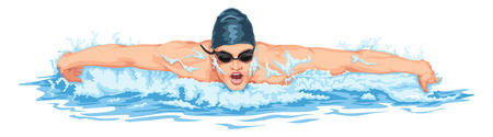 swimming goggles: Vector illustration of man in swimming pool.