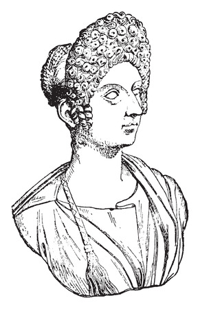 julie: Flavia Julia Titi, daughter of Titus, vintage engraved illustration.