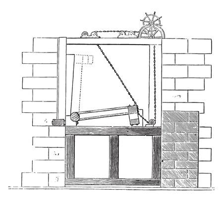 sluice: Sluice gate of the Erie Canal, vintage engraved illustration. Industrial encyclopedia E.-O. Lami - 1875. Illustration