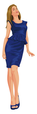 Vector illustration of attractive young woman in blue dress. Illustration
