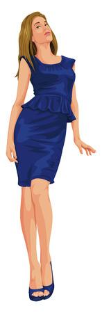 blue dress: Vector illustration of attractive young woman in blue dress. Illustration