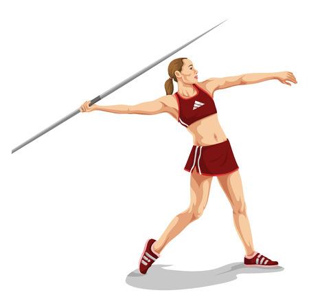 lanzamiento de jabalina: Ilustración vectorial de la mujer lanzando jabalina.