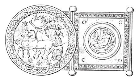 chariot: Silver buckle, vintage engraved illustration. Private life of Ancient-Antique family-1881.