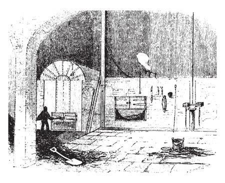 Furnace at the city saw mills, vintage engraved illustration.