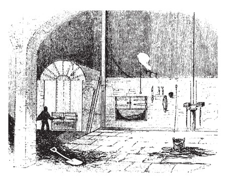 chamber of the engine: Furnace at the city saw mills, vintage engraved illustration.