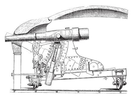 Lookout tenminste deuropening (Gruson systeem) naar de Duitse gepantserde torentjes, vintage gegraveerde illustratie. Industriële encyclopedie E.-O. Lami - 1875.