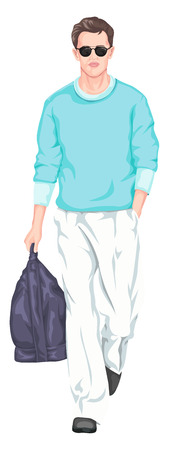 representations: Vector illustration of handsome man carrying bag and walking.