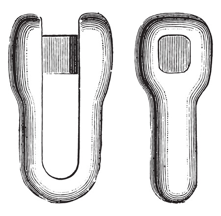 shackle: Shackles, vintage engraved illustration. Industrial encyclopedia E.-O. Lami - 1875. Illustration