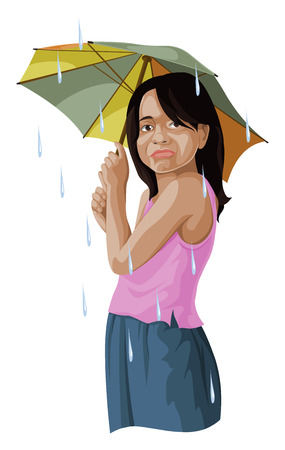 Vector illustration of girl with umbrella.