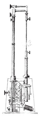 electric torch: Electric torch or regulator M V Serin, vintage engraved illustration. Industrial encyclopedia E.-O. Lami - 1875.