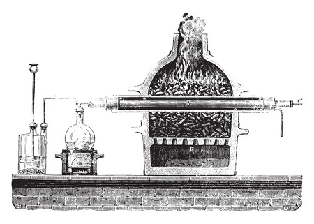 Dissociation of water, vintage engraved illustration. Industrial encyclopedia E.-O. Lami - 1875.