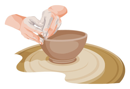 wheels: Vector illustration of hands making pottery.