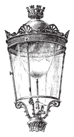 lantern: Lantern with intensive gas nozzle for lighting the streets of Paris in 1878, vintage engraved illustration. Industrial encyclopedia E.-O. Lami - 1875.