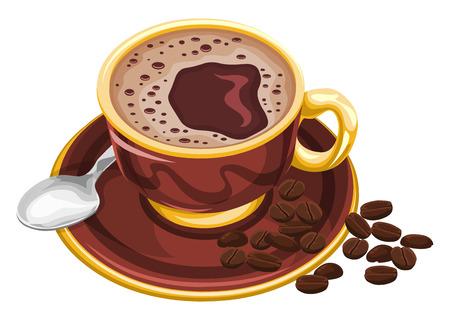 Vector illustratie van koffie beker met bonen. Stock Illustratie