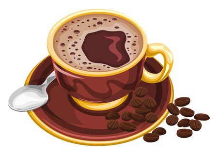 Vector illustration of coffee cup with beans.