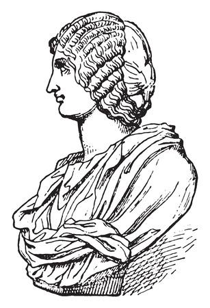 hair style fashion: Roman hairstyle, vintage engraved illustration.
