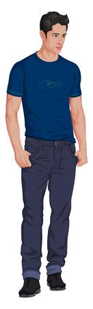 Vector illustratie van stijlvolle jonge man geïsoleerd op wit.