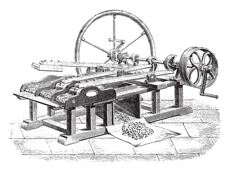 antique factory: Gin flax Legris system, vintage engraved illustration. Industrial encyclopedia E.-O. Lami - 1875. Illustration